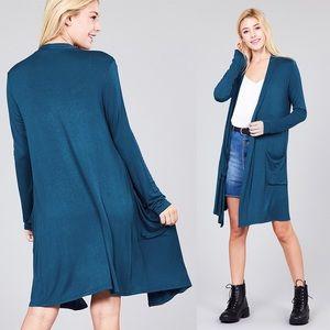 REG & PLUS Soft Knit Cardigan w/Pockets Teal